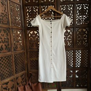 White slightly off shoulder dress